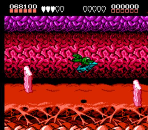 Só preciso mostrar essa imagem para lembrar o terror que era Battletoads, e ela era apenas a terceira fase