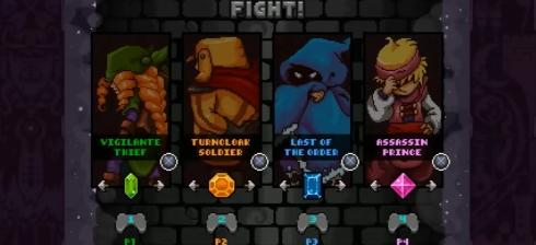 4 personagens são liberados de início, outros 4 são liberáveis fazendo  objetivos específicos